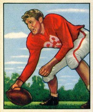 Bill Johnson (center) - Johnson on a 1950 Bowman football card