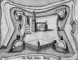 Biržai - Engraving of Biržai Castle in 17th century