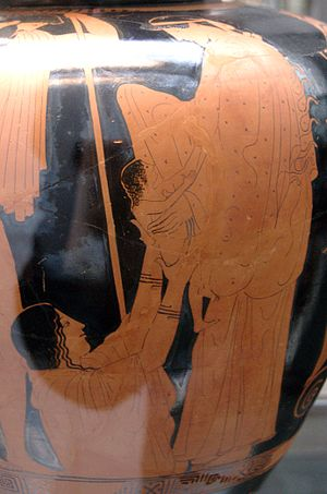 Gaia (mythology) - Gaia hands her newborn, Erichthonius, to Athena as Hephaestus watches - an Attic red-figure stamnos, 470–460 BC