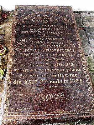 Infant Jesus Cathedral - Grave slab of Bishop Charles Hyacinth Valerga in Quilon