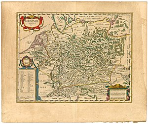 Wends - Germaniae veteris typus (Old Germany). Aestui, Venedi, Gythones and Ingaevones are visible on the right upper corner of the map. Edited by Willem and Joan Blaeu, 1645.