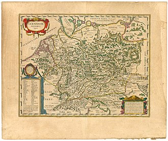 "Aesti - Willem and Joan Blaeu's 1645 work Germaniae veteris typus (""Historical map of Germany""). Aestui is on the right upper corner of the map, north east of its likely position."