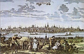 Demographics of Cologne - coloured drawing of Cologne, ca. 1700