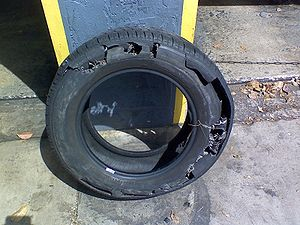 The result of improper tire maintenance. This ...