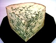 Stilton cheese veined with Penicillium roqueforti.