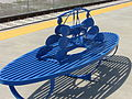 Blue artistic bench Ogden Intermodal Transit Center.JPG