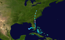 Track map of hurricane. Track starts in the Gulf of Mexico and crosses Florida before turning north and moving ashore for a final time in South Carolina.