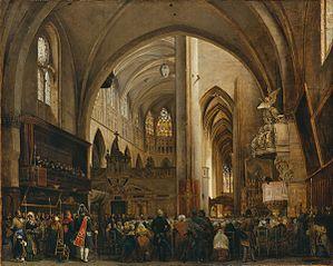 Vue intérieure de la cathédrale Saint-Etienne de Toulouse pendant un office