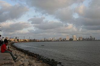 Geography of Mumbai - Mumbai skyline as seen from Marine Drive