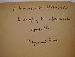 Book signed by Raymond Aron and offered to Maurice Halbwachs.JPG