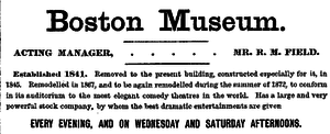 Moses Kimball - Boston Museum  advertisement from 1872