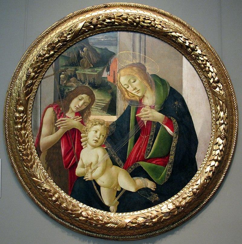 Botticelli e bottega, madonna col bambino e san giovannino, stimmate di s. francesco nello sfondo, 1490-1500 ca..JPG