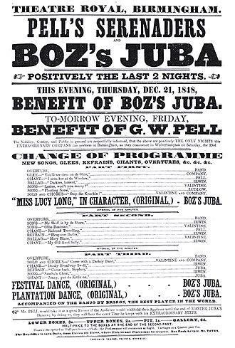 Master Juba - Playbill for Pell's Serenaders, with whom Boz's Juba was playing in 1848