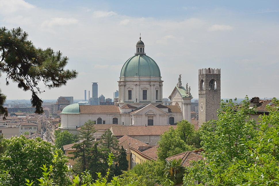 Brescia from above with the Duomo and the Torre del Popolo