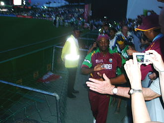 Brian Lara - Lara during his lap of honour in his final international match, 2007 Cricket World Cup.
