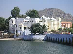 Pushkar Lake - Foot bridge of arches to cross the inlet channel to the lake during parikrama of ghats and temples on ghats