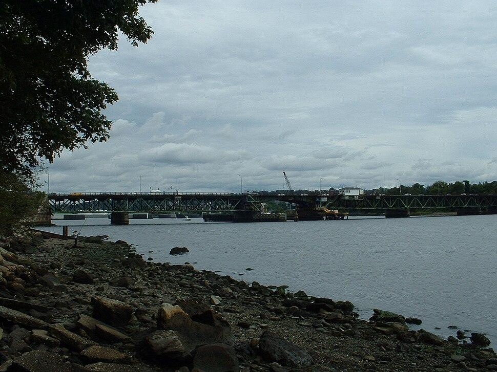 Brightman Street Bridge, taken from the Somerset side of the Taunton River