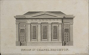 "Union Chapel, Brighton - Engraving by William Alexander showing post-1823 arrangement, attributed to ""H. Wilds, Architect"""