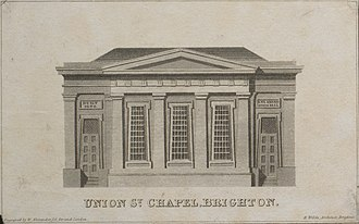 """Union Chapel, Brighton - Engraving by William Alexander showing post-1823 arrangement, attributed to """"H. Wilds, Architect"""""""