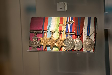 Medals of Thomas William Gould displayed ine the Jewish Museum London (Victoria Cross: left) British medals of Tommy Gould (40501818441).jpg
