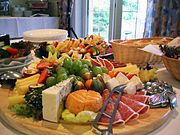 A typical cheese and cold meat buffet served at private festivities