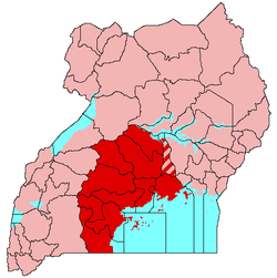 Buganda is shaded red on this map, Kayunga hatched