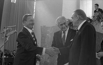 Aurelio Peccei - Aurelio Peccei (center) in 1973.