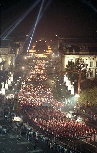 Republic Day (East Germany) - A torchlight procession in the center of Berlin on the occasion of the 40th anniversary Republic Day.