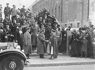 Adolf Hitler's bodyguard - Führerbegleitkommando and other uniformed SS men providing security for Hitler in February 1939