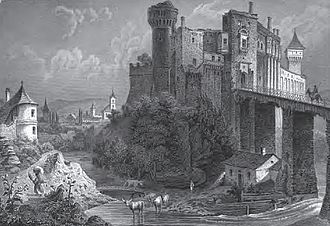 Corvin Castle - The ruins of the castle in 1865