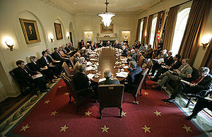 Domestic policy of the George W. Bush administration - President George W. Bush meets with his cabinet after his re-election.