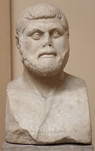 "Severe style - A Roman-era bust of Themistocles in ""Severe style"", based on a Greek original, in the Museo Archeologico Ostiense, Ostia, Rome, Italy. The lost original of this bust, dated to circa 470 BC, has been described as ""the first true portrait of an individual European""."