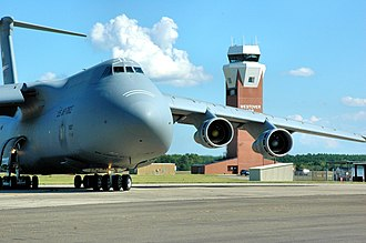 Westover Air Reserve Base - A Westover C-5B Galaxy taxies in from a local training mission