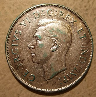 50-cent piece (Canadian coin) - Image: CANADA, GEORGE VI 1946 50 CENTS b Flickr woody 1778a