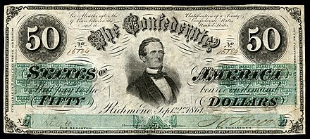 Davis was first depicted on the 1862 $50 CSA note issued between April and December 1862. CSA-T16-$50-1862.jpg