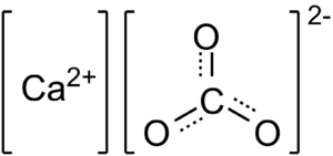 English: Chemical structure of calcium carbonate
