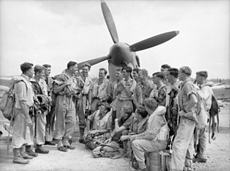 Morotai Mutiny - Caldwell (fourth from left) talking to No. 452 Squadron Spitfire pilots at Morotai in January 1945