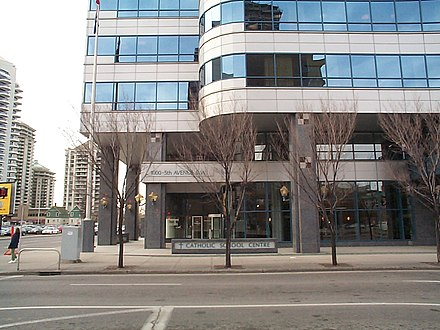The head offices for the Calgary Catholic School District is located in downtown Calgary. It is one of four publicly funded school boards operating in Calgary. Calgary Catholic School District 2.jpg