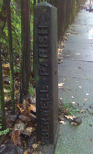 Camberwell - Boundary marker for Camberwell Parish on the route of the Effra at Gipsy Hill. This is not the boundary of what is now known as Camberwell