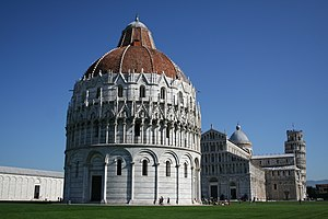 Pisa Cathedral - The Pisa Baptistery with the Cathedral and Leaning Tower of Pisa