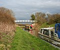 Canal boat approaching Brickyard Bridge - geograph.org.uk - 381629.jpg