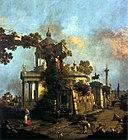 Каприччио с купольной церковью и памятником Коллеони