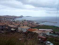The central part of the urbanized portion of the parish of Caniçal, with the Ponta de São Lourenço in the distance