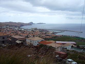 Caniçal - The central part of the urbanized portion of the parish of Caniçal, with the Ponta de São Lourenço in the distance