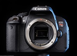 The Canon EOS 700D/Rebel T5i/Kiss X7i body, as shown with no lens.