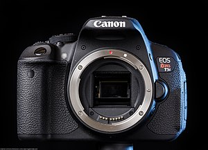 Canon EOS 700D - The Canon EOS 700D/Rebel T5i/Kiss X7i body, as shown with no lens.