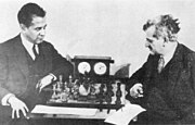 World Champions José Raúl Capablanca (left) and Emanuel Lasker in 1925