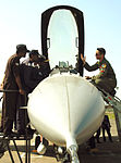 Capt. Kevin Jones gives a cockpit tour to IAF airmen during Cope India 2006.jpg