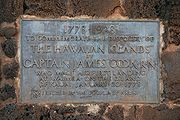 The inscription on the back of the Captain James Cook memorial in Waimea, Kauai