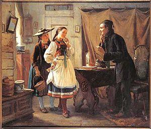 LeClerc - Image: Carl Wilhelm Hübner Beim Schreiber